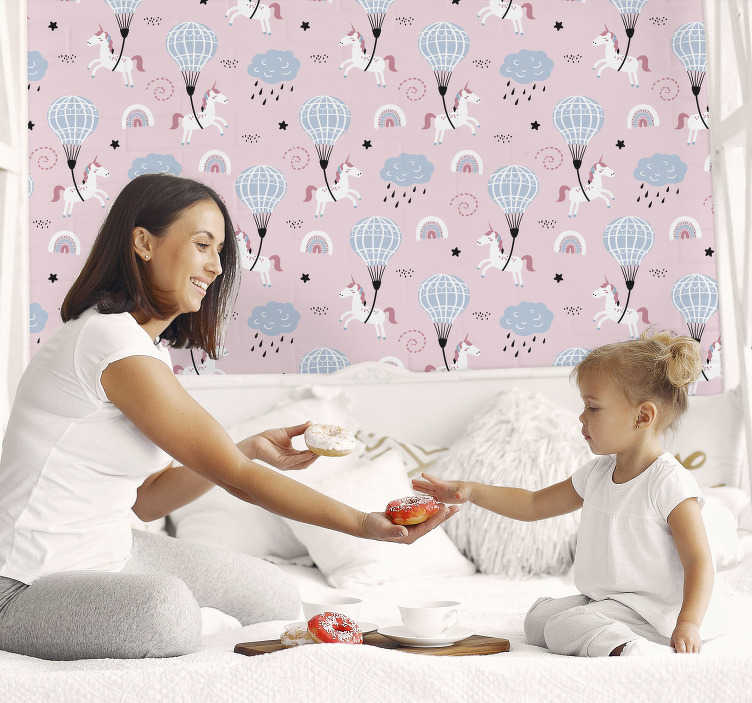 TenStickers. Kids pink wallpaper with unicorns. Add a bit of magic to your kids room with this pink patterned wallpaper with unicorns. Your children will fall in love with this decoration!