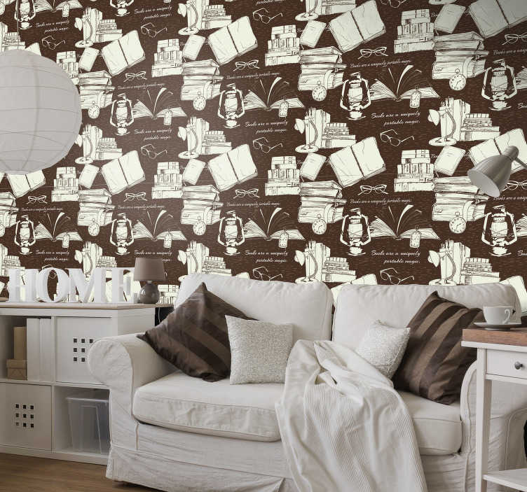 TenStickers. Vintage book shelf wallpaper. This vintage living room wallpaper with the design of books, retro clocks and old fashioned lamps will become a port to a magical world of imagination