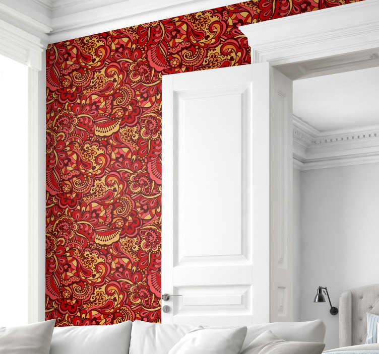 TenStickers. Wallpaper red ornamental shapes. High quality red wallpaper with many ornamental details will transform your house into a place full of elegance and luxury.