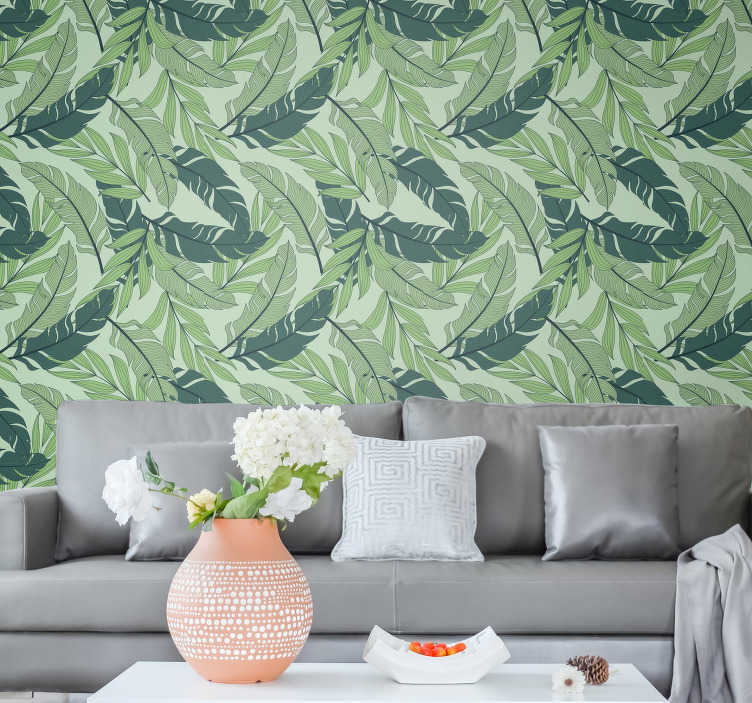 TenStickers. Wallpaper tropical leaves with green background. Transform your house into an amazing jungle with this forest wallpaper. Made out of high quality materials will make all of your guests amazed!