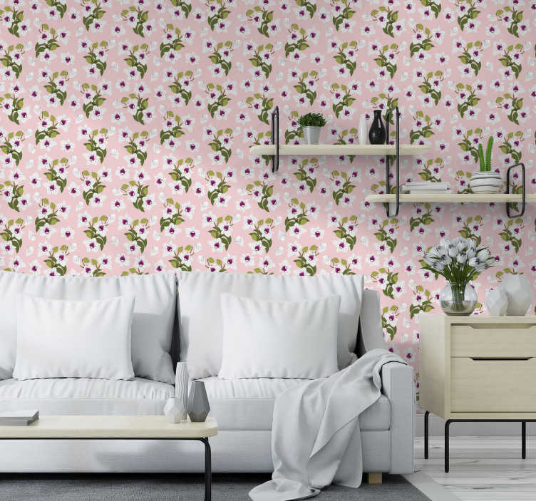 TenStickers. White flowers wallpaper. Order this flower wallpaper to quickly transform your interiors in a subtle and beautiful way. Forget about boring and white walls!