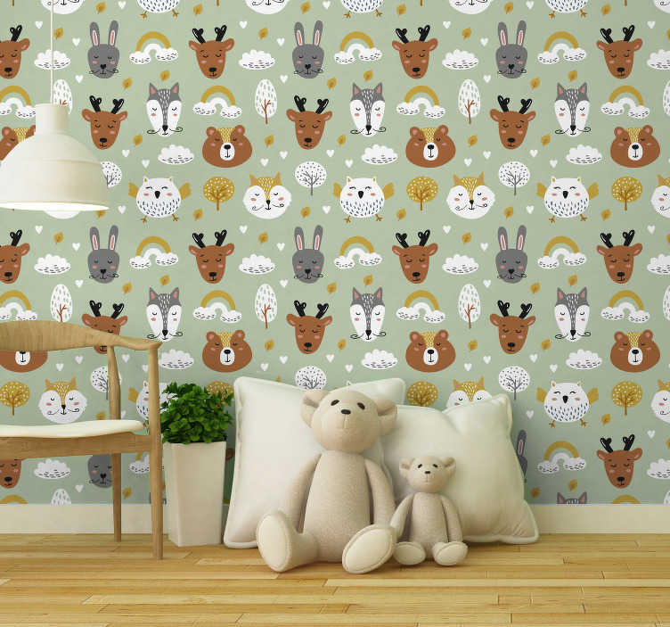 TenStickers. Bedroom Wallpaper animals in nordic style. Have a look at this animal wallpaper which is full of beautiful bears, deers and rabbits. That is a perfect and modern combination!