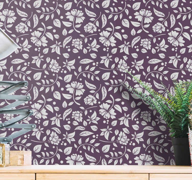 TenStickers. Ornamental Vintage Flowers Wallpaper. Decorate your living room with this ornamental wallpaper with the design of white pattern on the purple background. High quality and easy application!