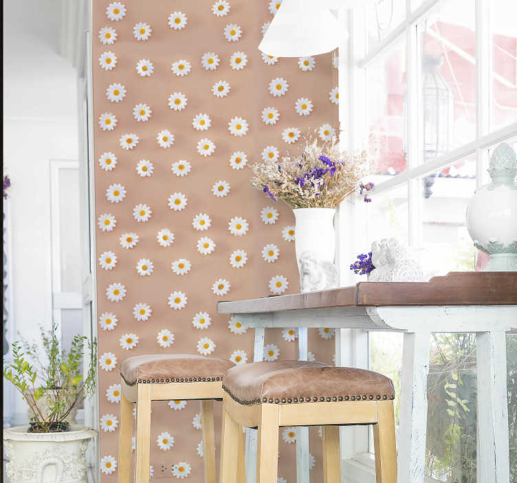 TenStickers. Modern Daisy Pattern Nature Wallpaper. Order this flower wallpaper with the daisy pattern expressed in a modern, highly realistic way to decorate your dining room in a quick way!