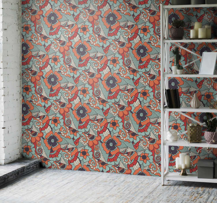 TenStickers. Ornamental Wallpaper floral paisley. Choose this modern living room wallpaper with the design of paisley style flowers. High quality of the material, without light reflection.