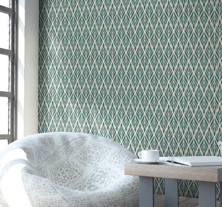 TenStickers. Green Wallpaper ethnic floral pattern. Forget about boring walls with this stylish ornamental wallpaper that are made out of high quality material. Register and get -10%!