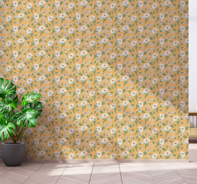 TenStickers. Nature Wallpaper Daisy Flower Yellow Background. Pattern wallpaper for flower lovers with classic daisies on yellow background. High quality material, no light reflections!