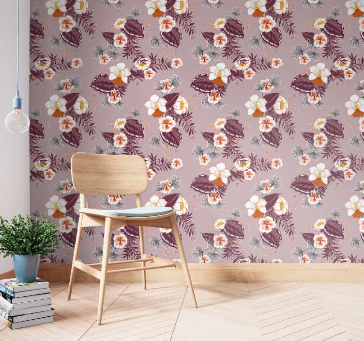 TenStickers. Wallpaper with big colourful flowers. Discover the nature through those flower wallpaper with big white petals and purple leaves of the really beautiful flower!