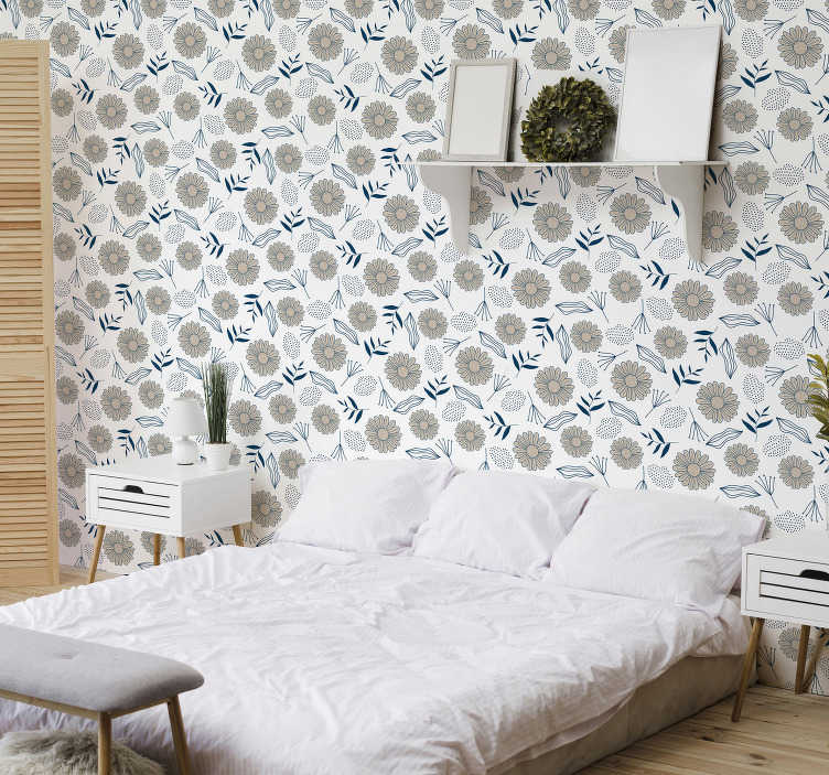 TenStickers. Nature Wallpaper Beige daisy pattern. Embrace the flower power with this bedroom wallpaper with beige daisies. Everyone will fall in love with this amazing design!