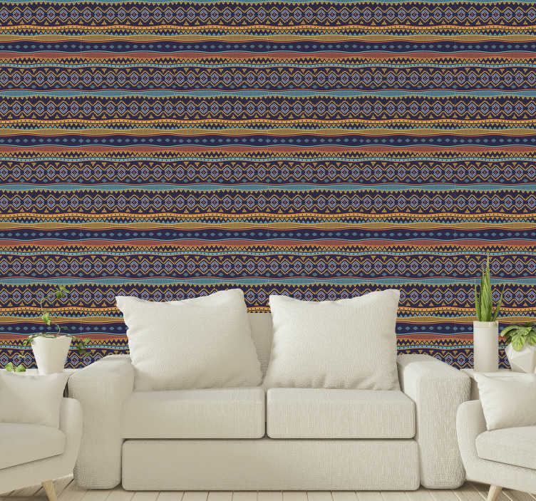 TenStickers. Ancient tribal design Pattern Wallpaper. A colorful and impressive patterned wallpaper in tribal style with vibrant colors that will create a pleasant and fun atmosphere in your spaces.