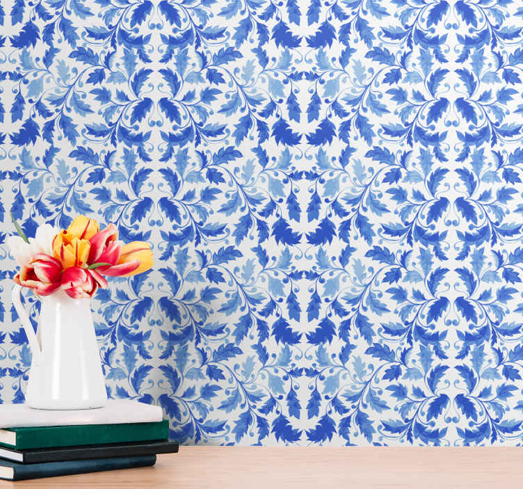 TenStickers. Blue flower pattern Bedroom Wallpaper. Beautiful ornamental wallpaper with an elegant pattern of blue floral ornaments on a white background perfect for your living room or bedroom.