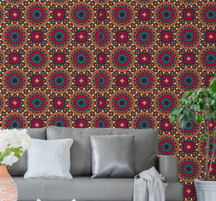 TenStickers. Colourful mandala Bedroom Wallpaper. Spectacular modern living room wallpaper with a majestic pattern of colorful mandalas. Its vibrant colors will bring life to your home.
