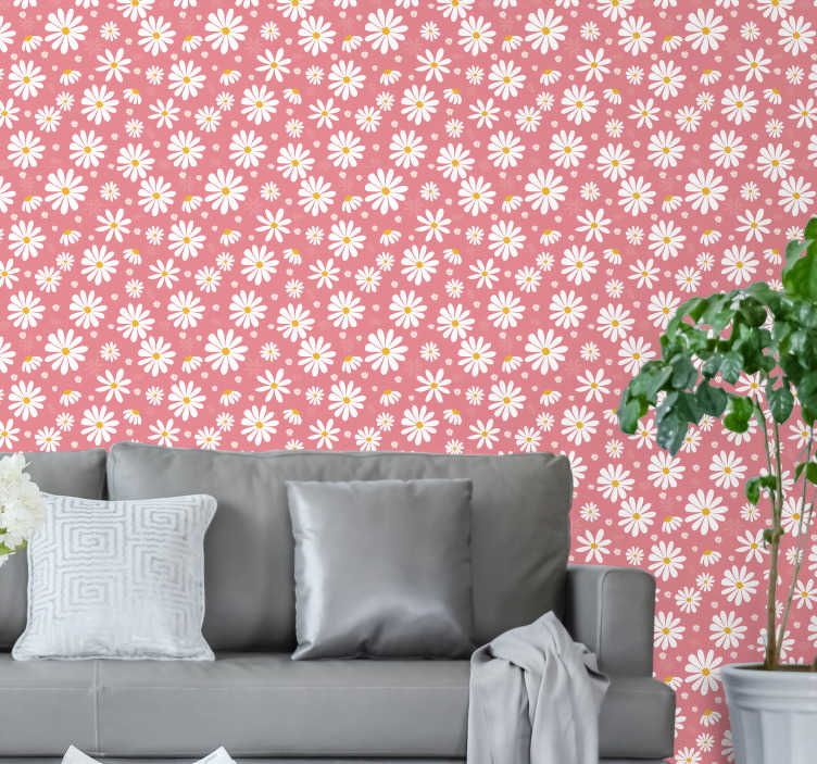 TenStickers. Daisy flowers Bedroom Wallpaper. Transform your home into a real garden with this magnificent floral wallpaper with a pattern of beautiful daisies on a pink background.