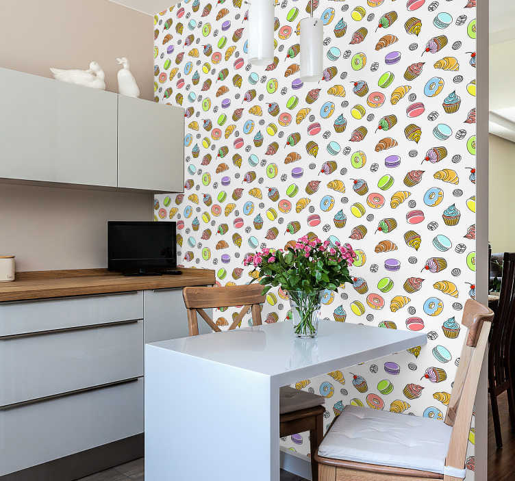 TenStickers. Delicious pastries Kitchen Wallpaper. Are you a food lover? Then this kitchen wallpaper with a colorful pattern of cakes and pastries is the perfect complement for your decor.