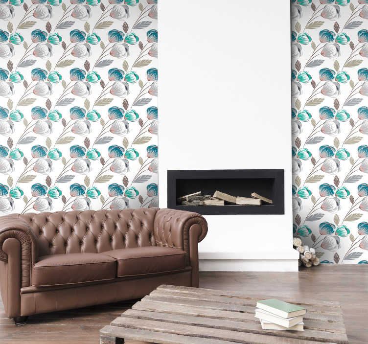 TenStickers. Fine flowers Nature Wallpaper. Give your favorite spaces a new look by decorating the walls of your home with this sublime floral wallpaper. Discounts available.