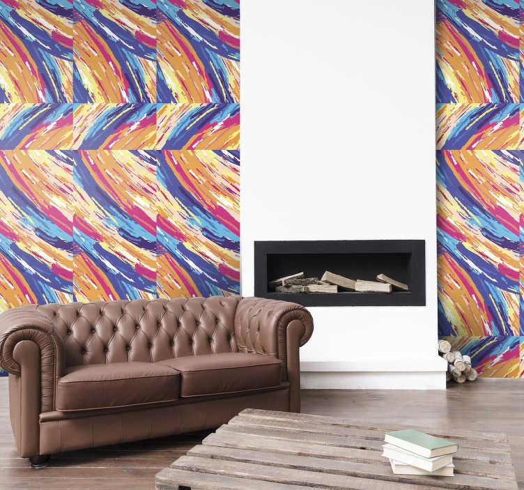 TENSTICKERS. 色とりどりのブラシストロークの寝室の壁紙. あなたが芸術愛好家なら、この抽象的なアートの壁紙、カラフルなブラシストロークで構成されるパターンは、あなたの家にはなかった装飾です。