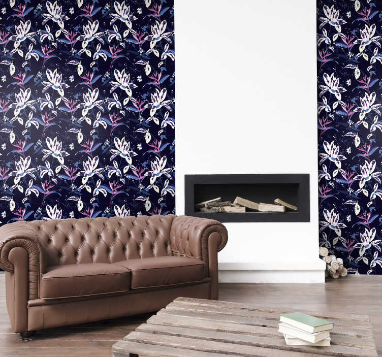 TenStickers. Rainbow flowers Nature Wallpaper. Magnificent floral wallpaper with pattern full of beautiful white flowers on a dark background ideal for decorating your living room or bedroom.