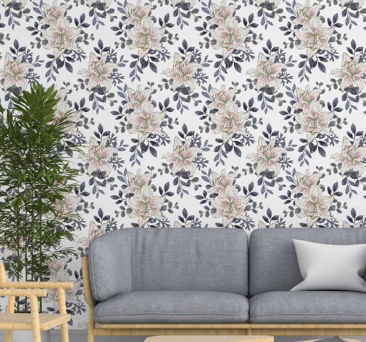 TenStickers. Red-dotted Lilies Nature Wallpaper. This floral wallpaper with a pattern of white lilies with red dots inside and gray leaves is the perfect decoration for your living room or bedroom.