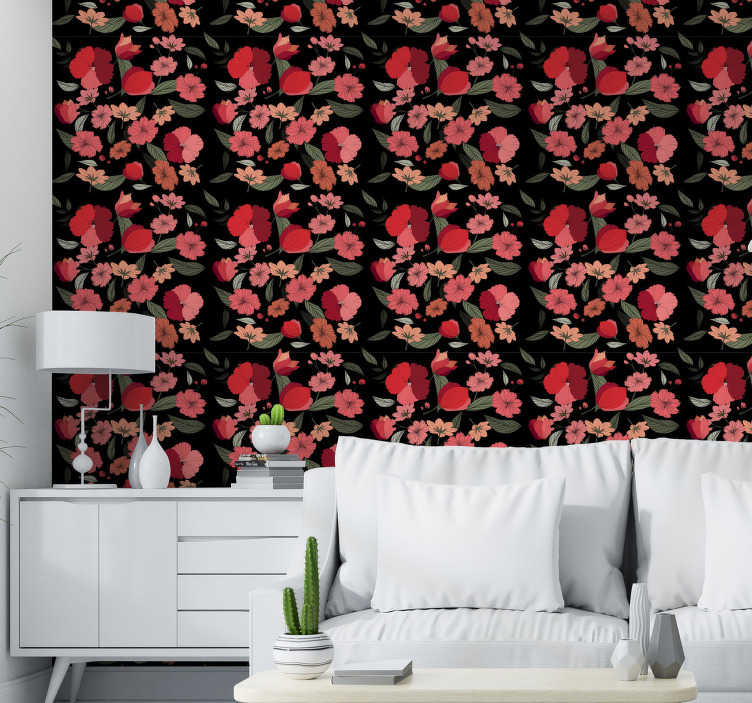 TenStickers. Rose tulips Nature Wallpaper. Majestic vintage wallpaper of red and pink tulips on a black background perfect to create a new atmosphere in your living room.