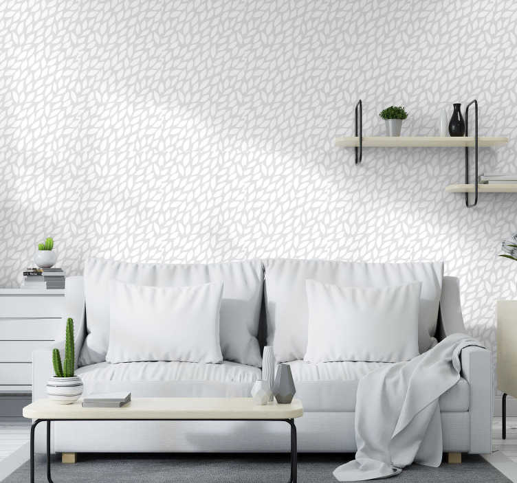 TenStickers. Seamless flower pattern Bedroom Wallpaper. This modern wallpaper with a pattern of seamless white flowers on a light gray background is exactly the decoration you need for your home.