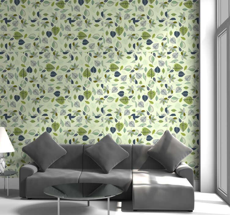 TenStickers. 단순한 녹색 잎 자연 배경. 라임 녹색 배경에 잎 무늬가있는이 환상적인 자연 벽지로 자연의 평화와 평온을 가정 장식에 가져 오십시오.