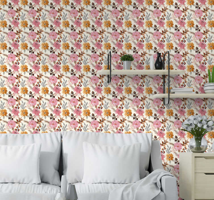 TenStickers. Watercolor flowers Nature Wallpaper. Bring color and life to the walls of your home with this magnificent flower wallpaper with pattern of flowers in a watercolor style.