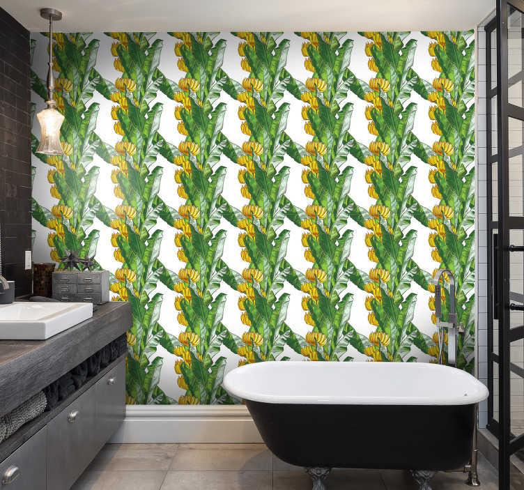 TenVinilo. Papel pared de plantas hojas de plátano. El moderno papel pintado del baño lleno del diseño de hojas de plátano hará que todos sus invitados se sorprendan ¡Fácil de aplicar!