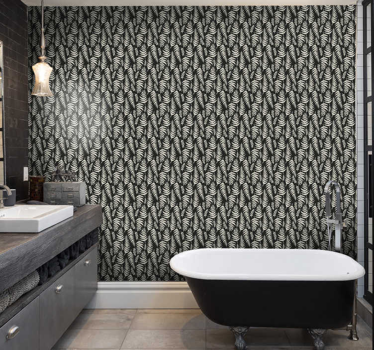 TenStickers. Black ferns Nature Wallpaper. Modernize your bathroom decor with this spectacular nature wallpaper with an elegant pattern of white tropical leaves on a black background.
