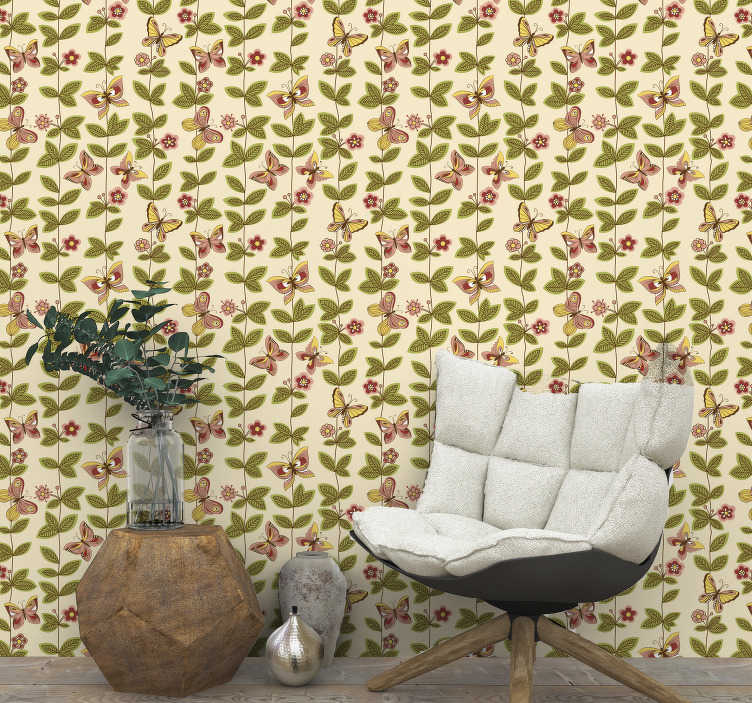 TenStickers. Butterflies Nature Wallpaper. Perfect for living room this butterfly wallpaper comprises the beauty, elegance and style. High quality material and best design!