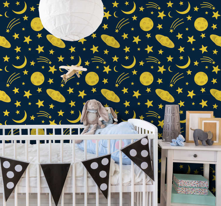 TenStickers. Moons and stars Baby´s Wallpaper. Children's bedroom wallpaper full of yellow moons, stars, and even shooting stars is a perfect way to decorate a room of your little one! High quality