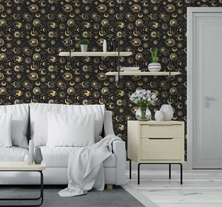 TenStickers. Clouds and stars Bedroom Wallpaper. Kids bedroom wallpaper full of interesting shapes such as yellow, highly detailed images of sun, moon and clouds will be perfect for your home!