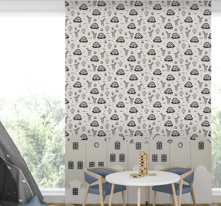 TenStickers. Cute turtle Bedroom Wallpaper. Lovely childrens room wallpaper, made out of high quality materials full of cute turtles. High quality product with matte finishing.