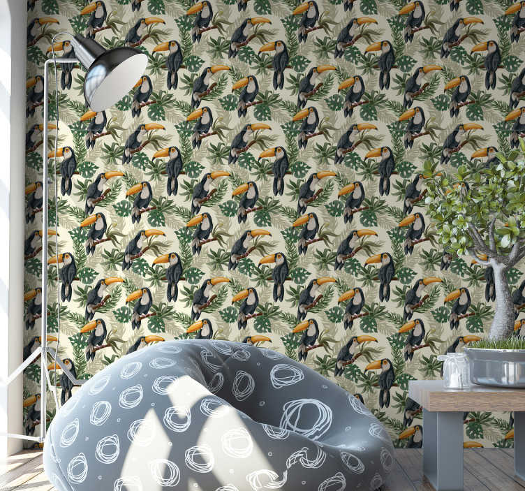 TenStickers. Jungle Toucan Wallpaper. Choose a living room wallpaper with a design full of toucans surrounded by leaves. Everyone loves those majestic birds. High quality!