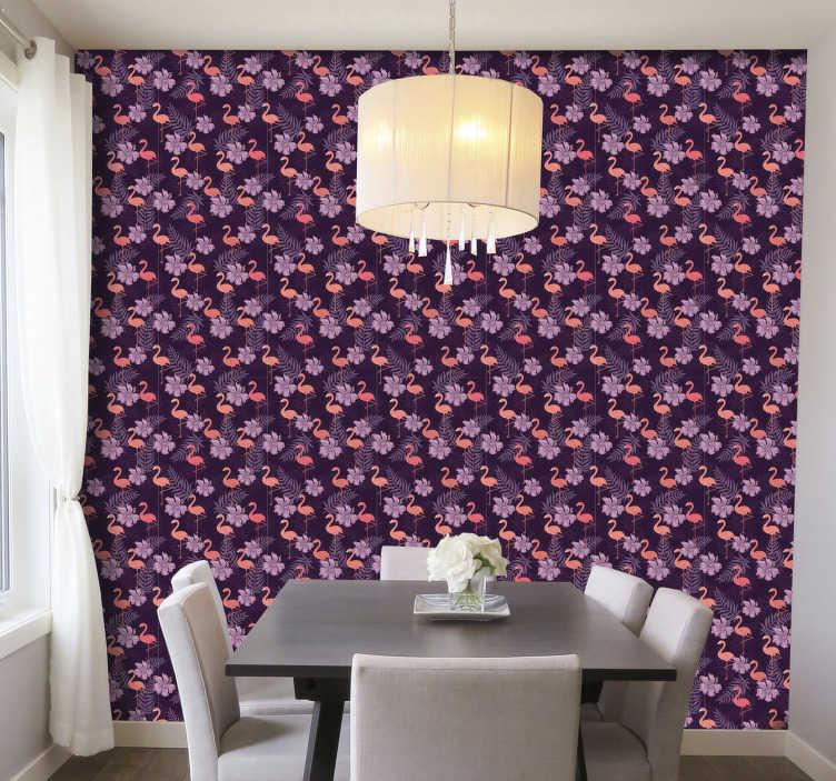 TenStickers. Flamants roses avec papier peint chambre palmier. Le papier peint moderne et élégant du salon avec des flamants transformera votre maison en un bel espace plein d'amour et de bonheur.