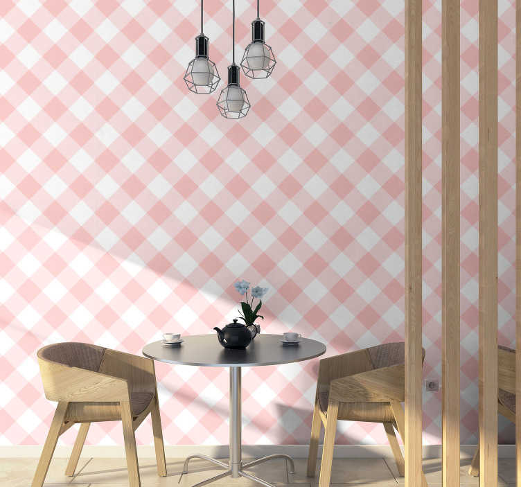 TenStickers. Pink and white Square Pattern Wallpaper. One of the most classical and beautiful square pattern wallpaper, combining pink and white colour. Instruction included with every product!