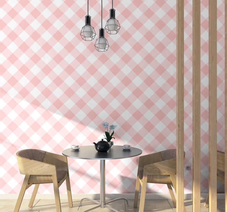 TenStickers. Carta da parati quadrata rosa e bianca. Una delle più classiche e belle carte da parati quadrate, che combinano il colore rosa e bianco. Istruzioni incluse con ogni prodotto!