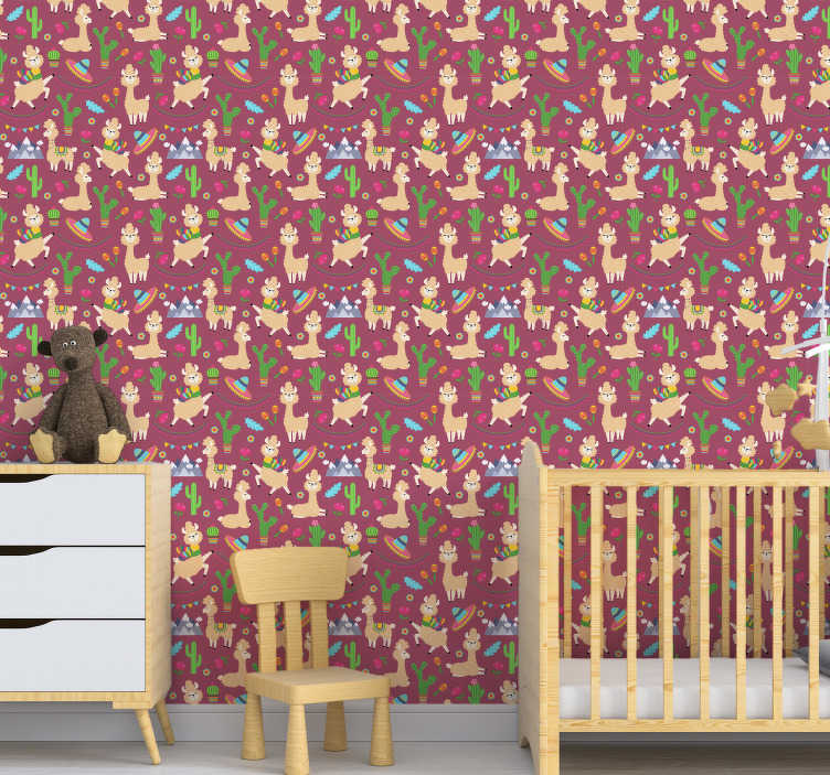 TenStickers. Sweet lama Bedroom Wallpaper. This beautiful children's wallpaper with a pattern of fun lamas, Mexican hats and cactus on a dark pink background is perfect for your kids bedroom.