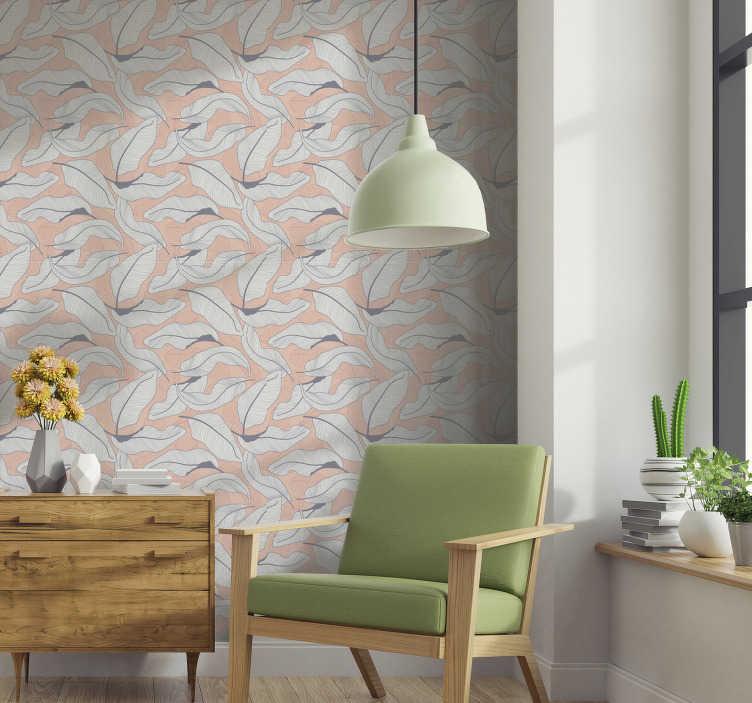 TenStickers. Feuilles tropicales nature papier peint. Décorez votre salon avec ce papier peint à motifs plein de fleurs tropicales sur le fond de couleur pêche. Tout le monde va l'adorer!