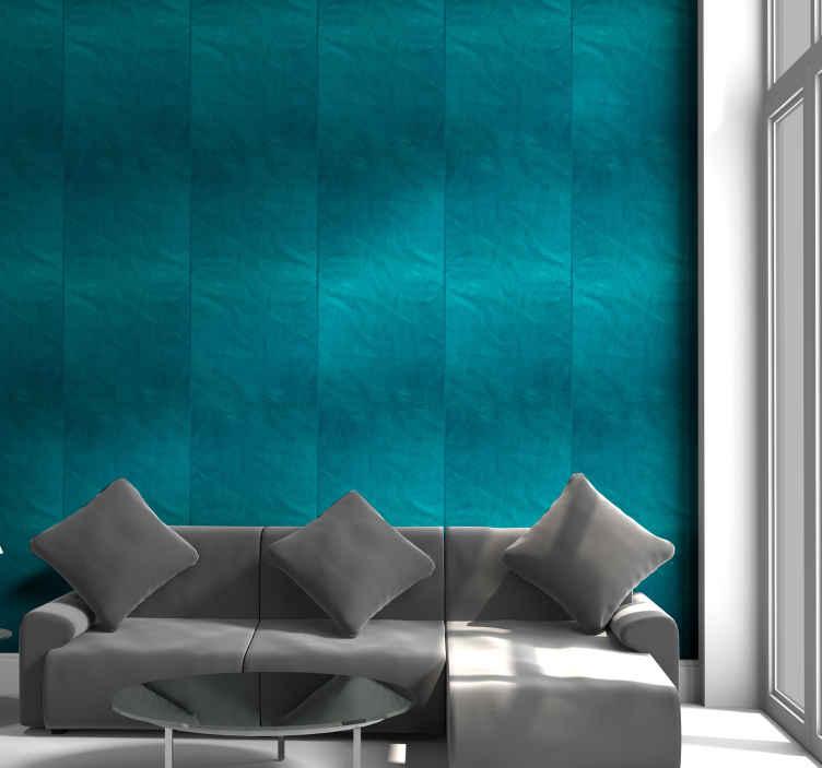 TenStickers. Carta da parati turchese. Con questa carta da parati blu, la tua casa acquisirà una nuova atmosfera che ti farà desiderare di trascorrere ancora più tempo nei tuoi spazi preferiti.