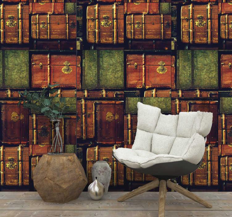TenVinilo. Papel pared vintage de maletas coloridas. Crea un ambiente acogedor en tu hogar con este papel pintado vintage que presenta increíbles maletas de una década diferente