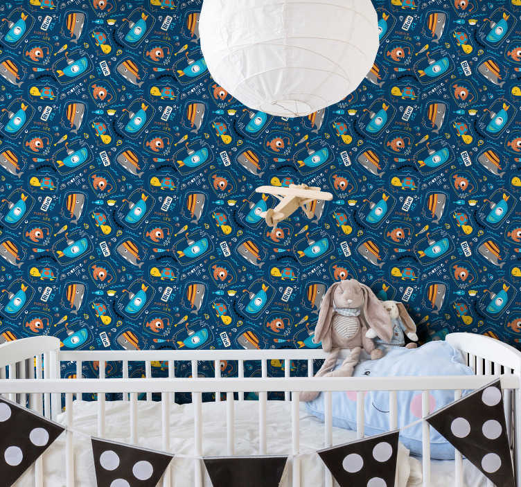 TenStickers. Whale and turtle Bedroom Wallpaper. Fantastic children wallpaper with cute elements such as whale, turtle and boats. Register to get -10% discount. High quality material!