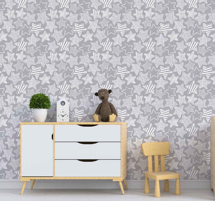 TenStickers. Bedroom Wallpaper White star. Amazing design of cute stars on this grey and white wallpaper will make everyone jealous of those decorations. High quality material!