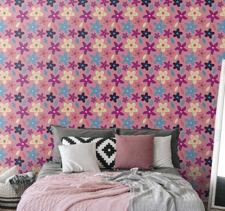 TenStickers. Chic Nature Wallpaper. Let your interiors flourish again with this chic nature wallpaper full of colourful flowers. High quality product that will make any room interesting!