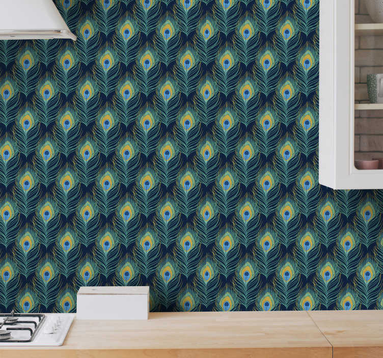 TenStickers. Peacock Ornament Wallpaper. It is time renovation and redecoration! Check this kitchen wallpaper with an elegant peacock ornament. This beautiful pattern is always on the top!