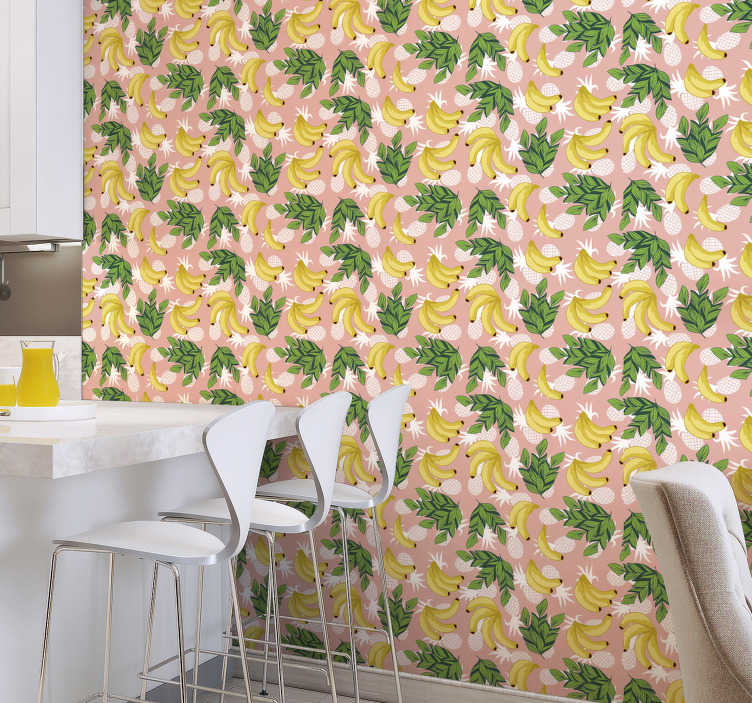 TenStickers. Pineapples and bananas Kitchen Wallpaper. Stunning kitchen wallpaper perfect for everyone who loves pineapples and bananas or would like to admire their beauty in home. High quality!