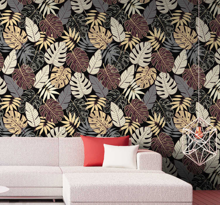TenStickers. Tropical jungle Forest Wallpaper. This forest wallpaper with those famous leaves is one of the most beautiful things you might see today. Wait no more, and order this decoration!