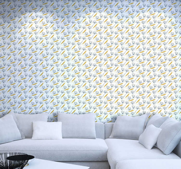 TenStickers. Delicate flowers Nature Wallpaper. Delicate wallpaper for living room with a design of beautiful flowers, surrounded by contrasting elements. Order it now and renovate your home!