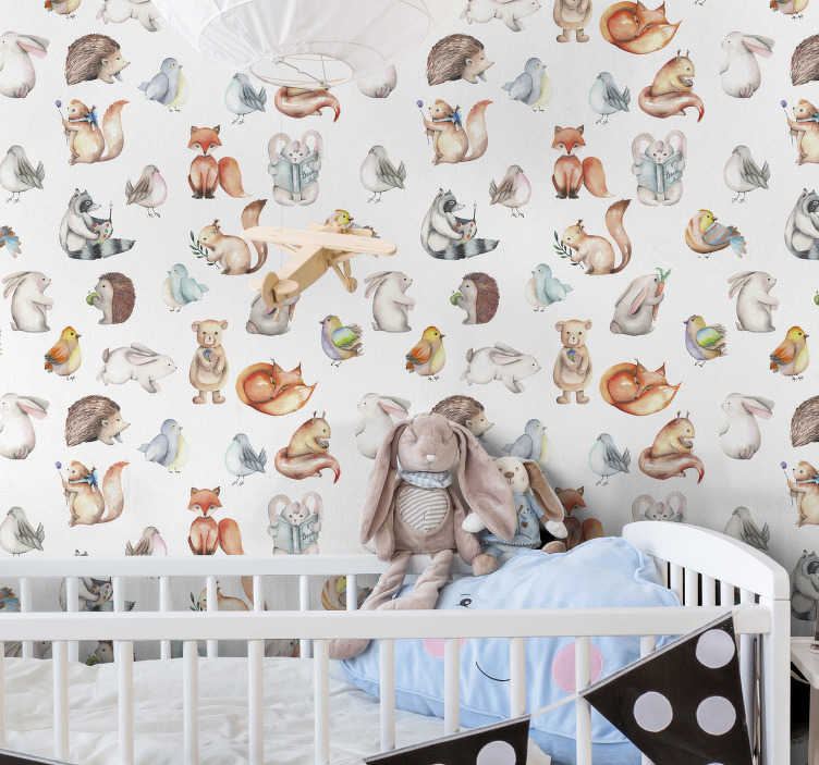 TenStickers. Cute Forest Bedroom Wallpaper. Fantastic children room wallpaper full of cute forest inhabitants such as foxes, birds, squirrels, bears and many more. High quality product!