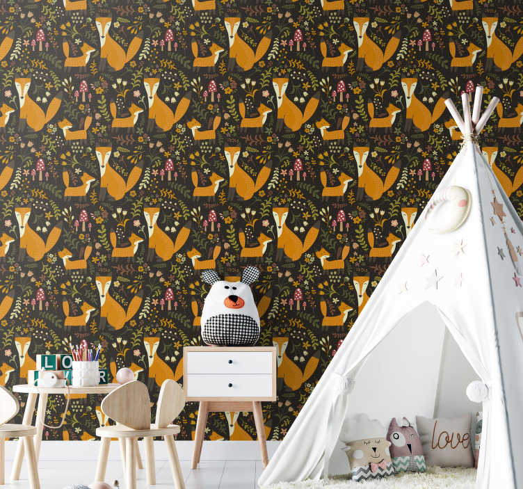 TenStickers. Cute Fox Bedroom Wallpaper. Decorate your kid room with this spectacular animal wallpaper. High quality product perfect for nature lovers. Register to get a -10% discount!