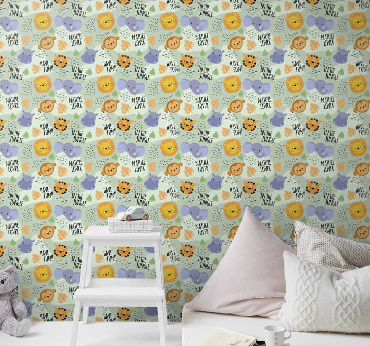 TenStickers. In the jungle Bedroom Wallpaper. Find all of the animals on this baby room wallpaper with a subtle green background. Register to get a 10% discount on your order!